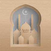 3D Cardboard Mosque. — Stock Vector