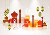 Muslim Mosque and Oil Lamp — Stock Vector