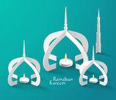 Muslim Paper Sculpture Oil Lamp — Stock Vector