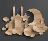 3D Cardboard Mosque. — Stock Vector