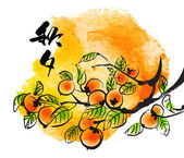 Persimmons for Korean Chuseok — 图库矢量图片