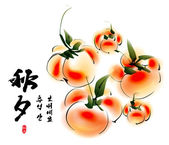 Persimmons for Korean Chuseok — Stock Vector