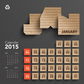 2015 Cardboard Calendar Design - January — Stock Vector