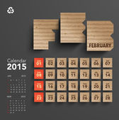 2015 Cardboard Calendar Design - February — Stock Vector