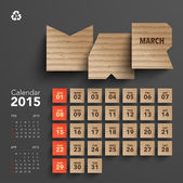 2015 Cardboard Calendar Design - March — Stock Vector