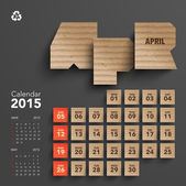 2015 Cardboard Calendar Design - April — Stock Vector