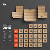 2015 Cardboard Calendar Design - July — Stock Vector