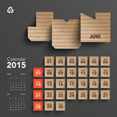 2015 Cardboard Calendar Design - June — Stock Vector