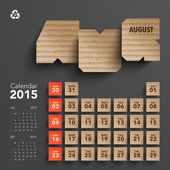 2015 Cardboard Calendar Design - August — Stock Vector