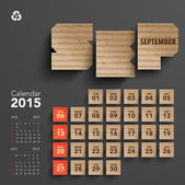 2015 Cardboard Calendar Design - September — Stock Vector
