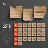 2015 Cardboard Calendar Design - November — Stock Vector