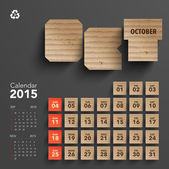 2015 Cardboard Calendar Design - October — Stock Vector