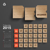 2015 Cardboard Calendar Design - December — Stock Vector
