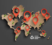 Cardboard Map with Location Markers — Vector de stock