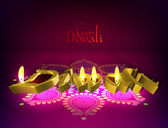 Vector Diwali Oil Lamp — Stock Vector