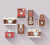 Vector 2D Flat Retro Cameras — Stock Vector