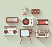 Flat Retro Entertainment Set — Stock Vector