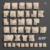 Vector Brown Paper Alphabet Set — Stock Vector