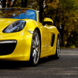 Porsche new Boxter convertible yellow - Stock Photo