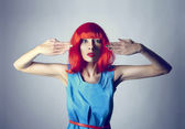 Red hair girl in blue dress — Stock Photo