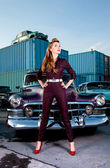 Retro car, girl PinUp  — Stockfoto