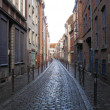 Foto Stock: Typical cobbled street Lille France
