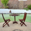 Foto Stock: Table and chairs near pool