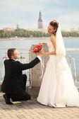 Bouquet to bride — Stock Photo