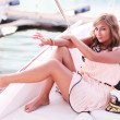 Beauty on yacht — Stock Photo