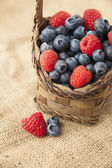 Berries on jute — Stock Photo