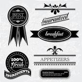 Ročník restaurace a potraviny odznaky a záhlaví — Stock vektor
