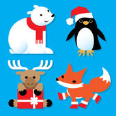 Holiday Animals — Vector de stock