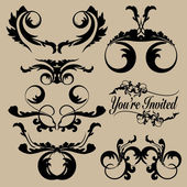 Ornate Black Calligraphic Headers — Stock Vector