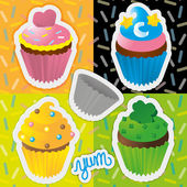 Colorful Cupcakes — Stock Vector
