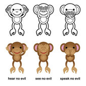 Hear No Evil, See No Evil, Speak No Evil Chimps — Stock Vector