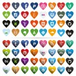 Social Media Icons, Heart-Shaped — Stock Vector