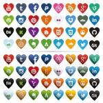Social Media Icons, Heart-Shaped — Stock Vector
