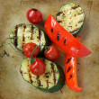 Grilled vegetables on an old rustic stone chopping board — Stock Photo #22347201