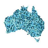 Pixel art outline of Australia — Stock Photo