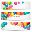 Holiday banners with colorful balloons. Vector. — Imagens vectoriais em stock