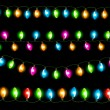 Strings of holiday lights on black background. Vector illustrati - Stock Vector