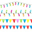 Strings of holiday lights and birthday flags white background. V — Stock Vector