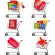 Collection of shopping carts full of shopping bags and gift boxe — Stock Vector #22562049