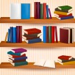 Bookshelf with colorful books and clock. Vector illustration. - Stock Vector