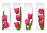 Set of banners with pink flower.Vector — Stock Vector