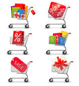 Collection of shopping carts full of shopping bags and gift boxe — Stock Vector