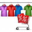 Shirts hanging on a bar and a shopping cart. Concept of discount - Stock Vector