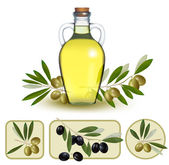 Bottle of oil with green olives and olive oil labels. Vector ill — Stock Vector