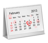 Valentine's Day in calendar. Vector — Stock Vector