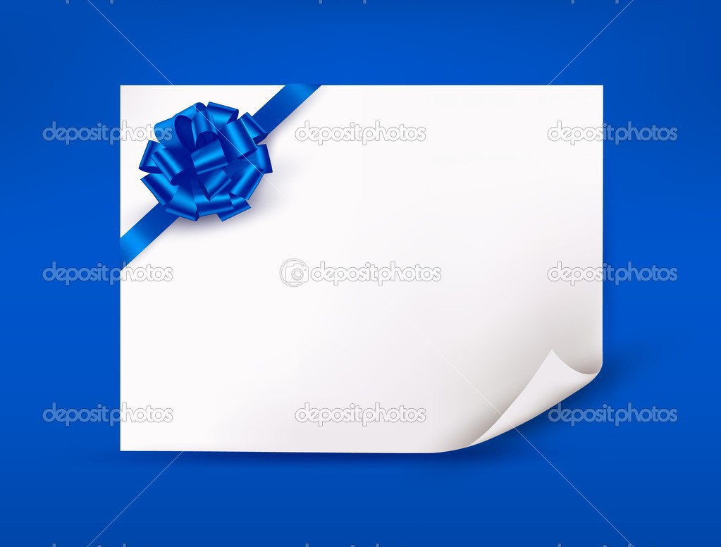 Blue-background-with-sheet-of-paper-and-blue-gift-bow-and-ribbon.jpg ...